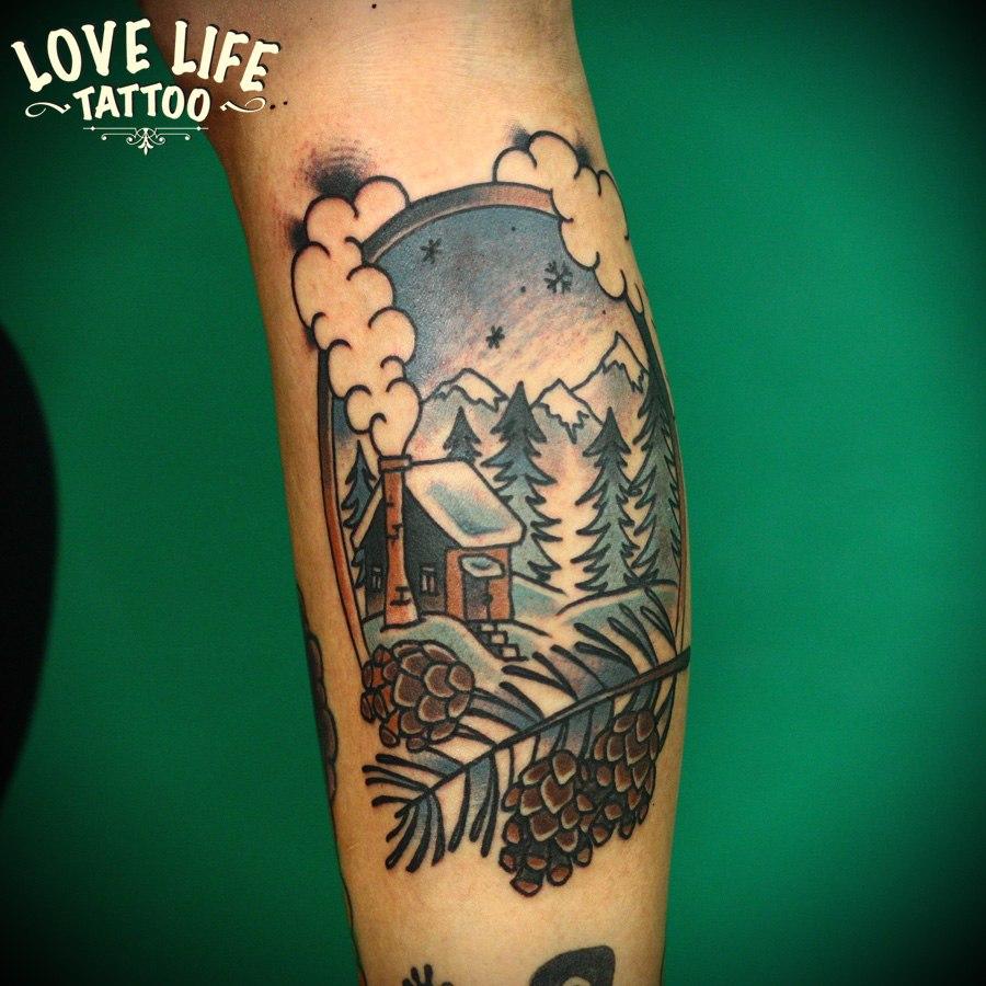 татуировка зимнего домика