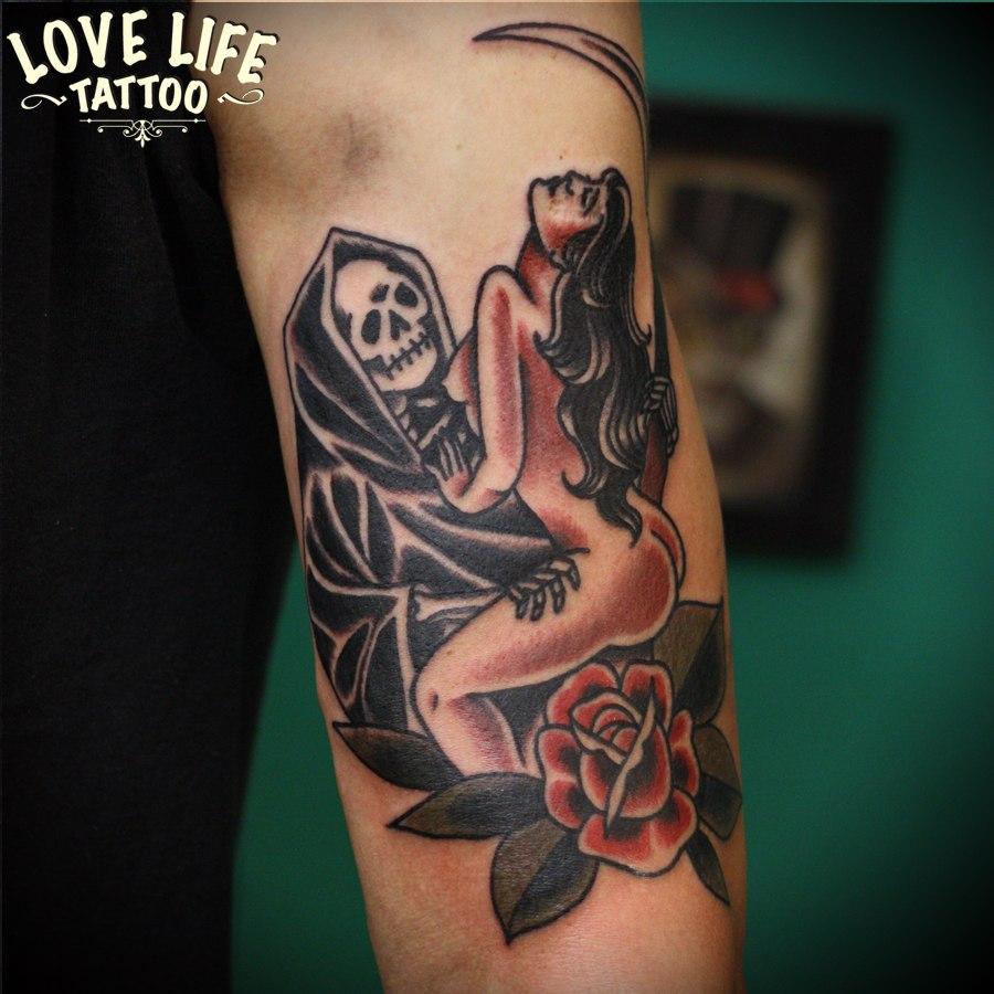 татуировка смерть с женьщиной