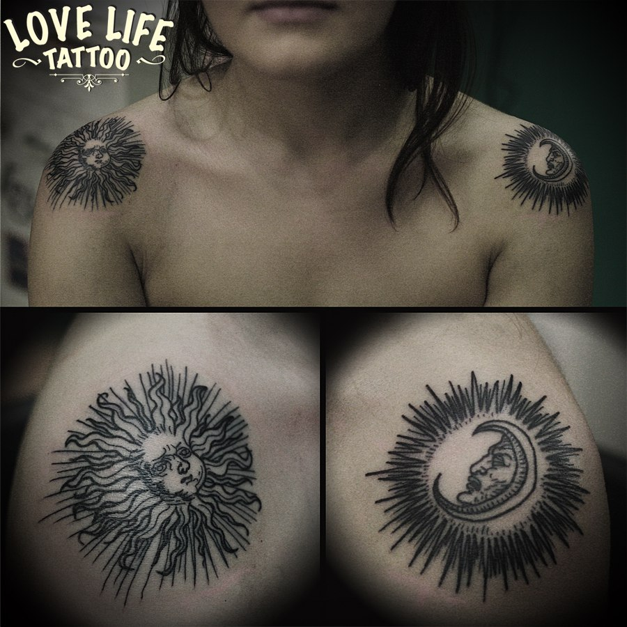 татуировка луны и солнца (Дюрер)