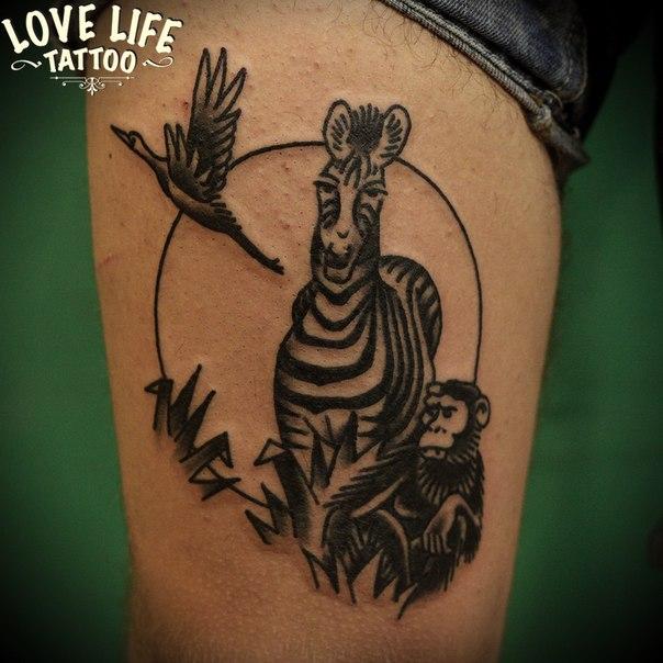 татуировка зебры