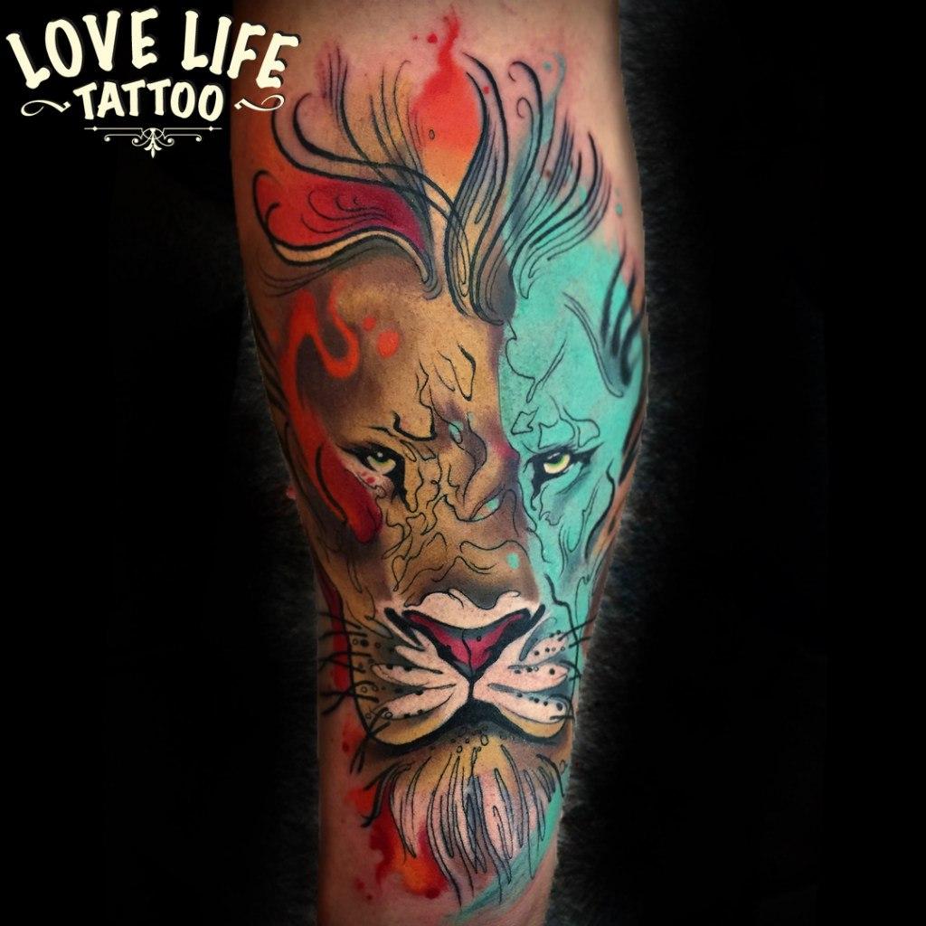татуировка льва