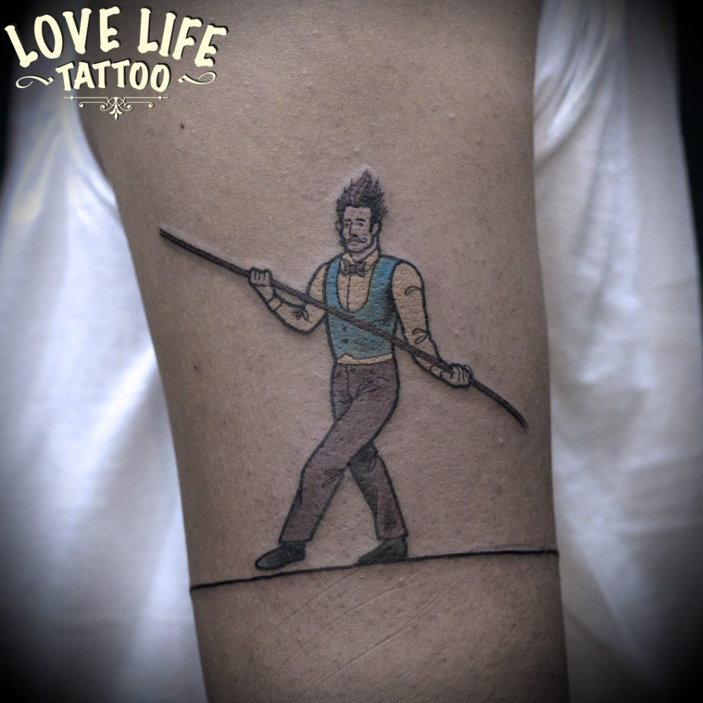 татуировка канатоходца