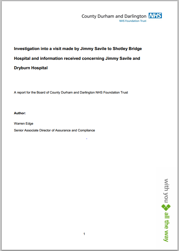 Investigation into allegations against Jimmy Savile at Shotley Bridge Hospital