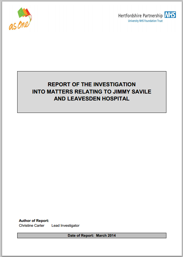 Investigation into allegations against Jimmy Savile at Leavesden Hospital