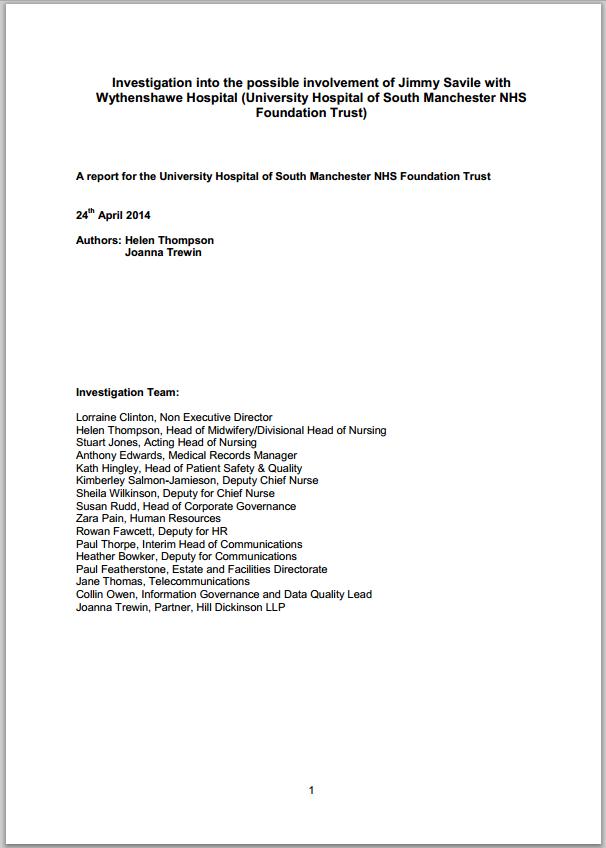 Investigation into allegations against Jimmy Savile at Wythenshawe Hospital