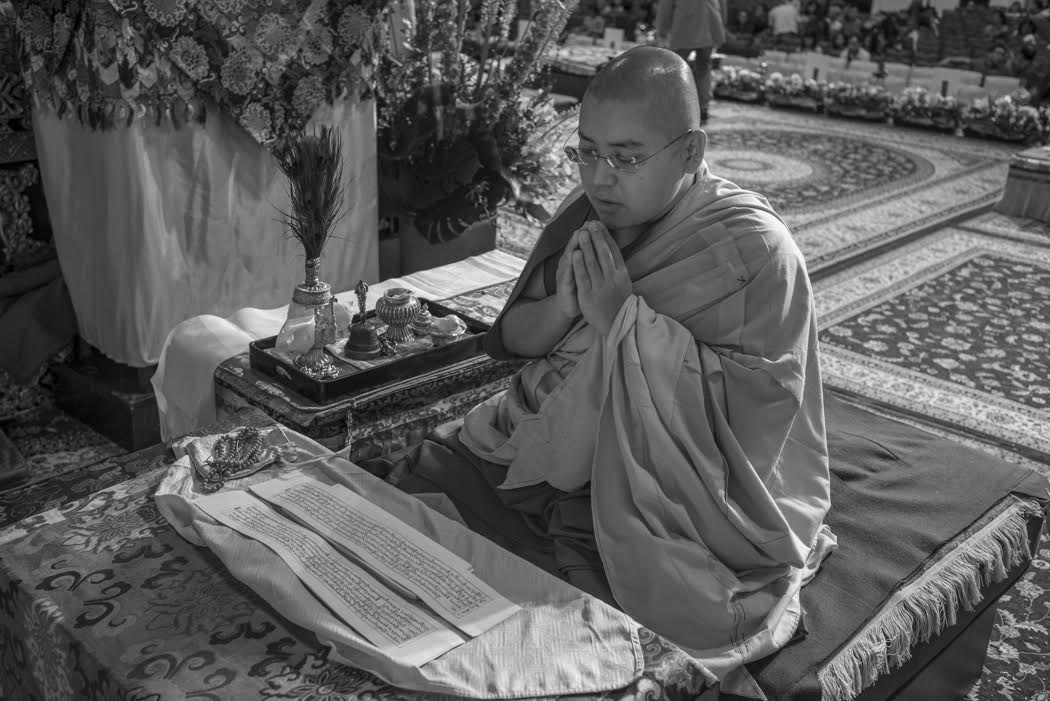 Rinpoche performs a self initiation before bestowing the initiation on others