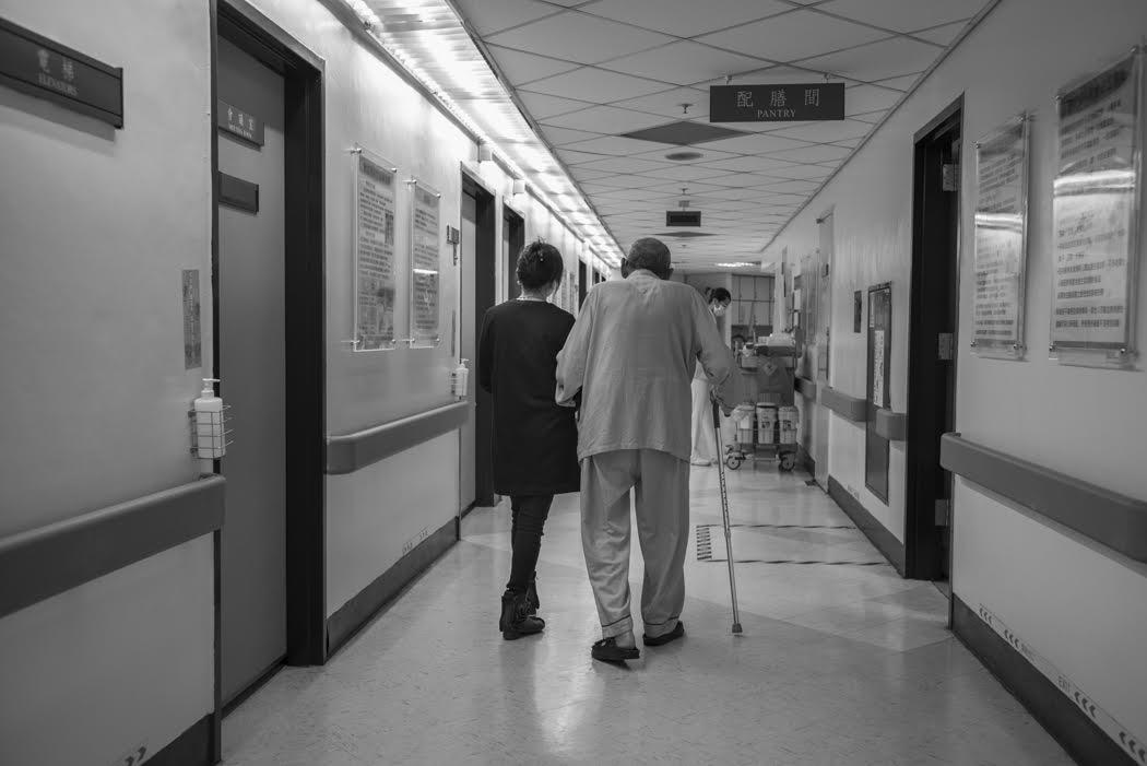 and walking through the ward