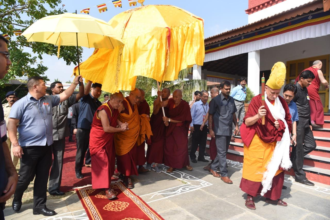 His Holiness visits the Rato Temple where he has lunch...  Photo by Tanya Agarwal