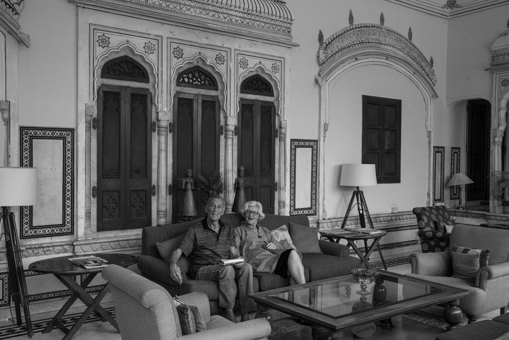 We like it here! Papa-ji and his lady are celebrating his 90th birthday at the Samod Haveli