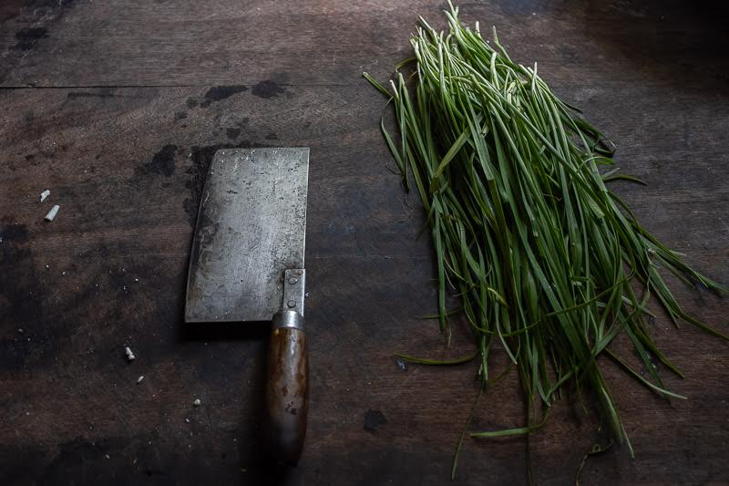 chives are chopped