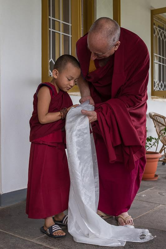 and veranda where I complement a young monk...