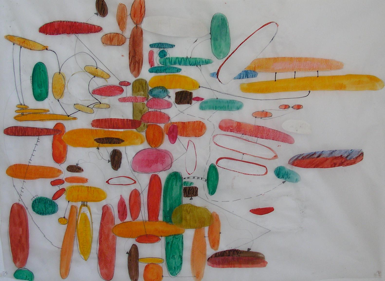 "Tracing of mind map - watercolour on tracing paper - 22"" x 30"""