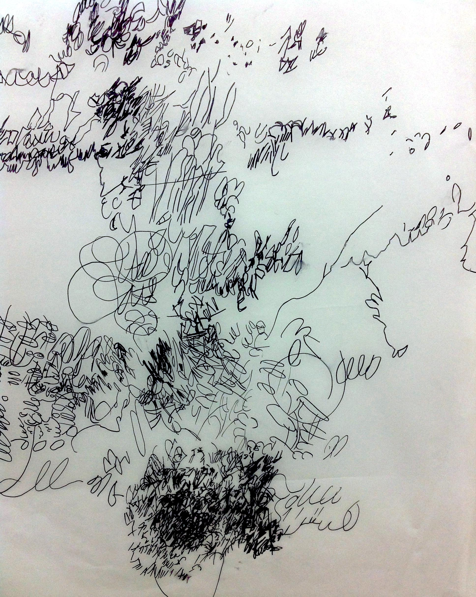 "Tracing of handwritten marks - marker on tracing paper - 22"" x 30"""