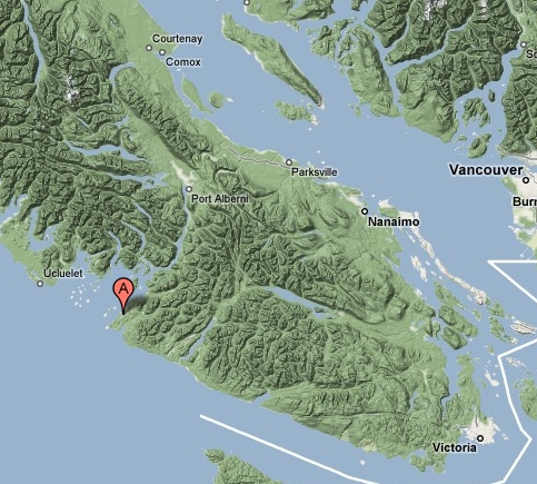 Map showing Bamfield in relationship to Vancouver Island