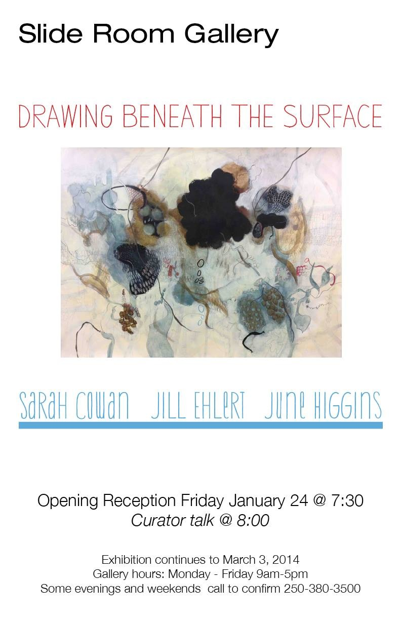 """Wendy Welch, the director of the Vancouver Island School of Art curated the exhibition """"Drawing Beneath the Surface"""".    These are my six drawings that were in the show.  Click on each one to enlarge."""
