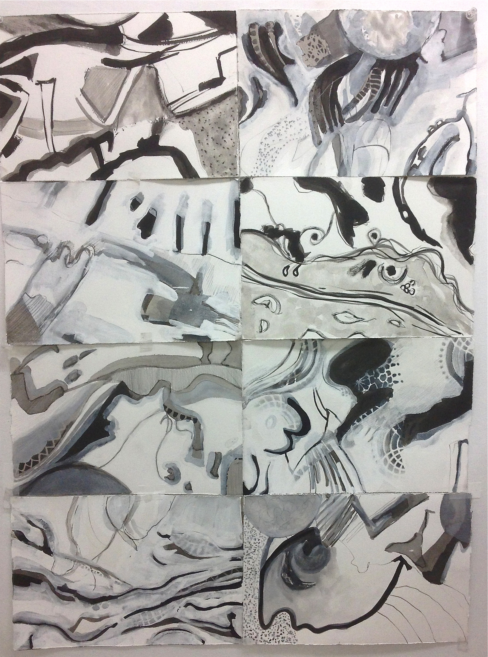 "11"" x 7.5"" each India ink, graphite, gesso"