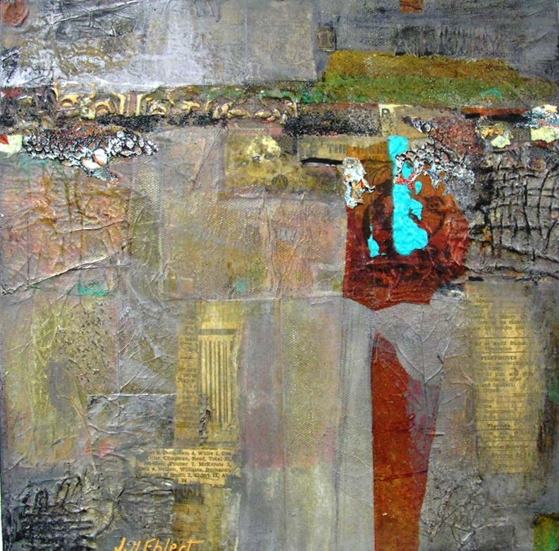 "Detritus II  Jill Ehlert  12"" X 12"" collage on canvas"