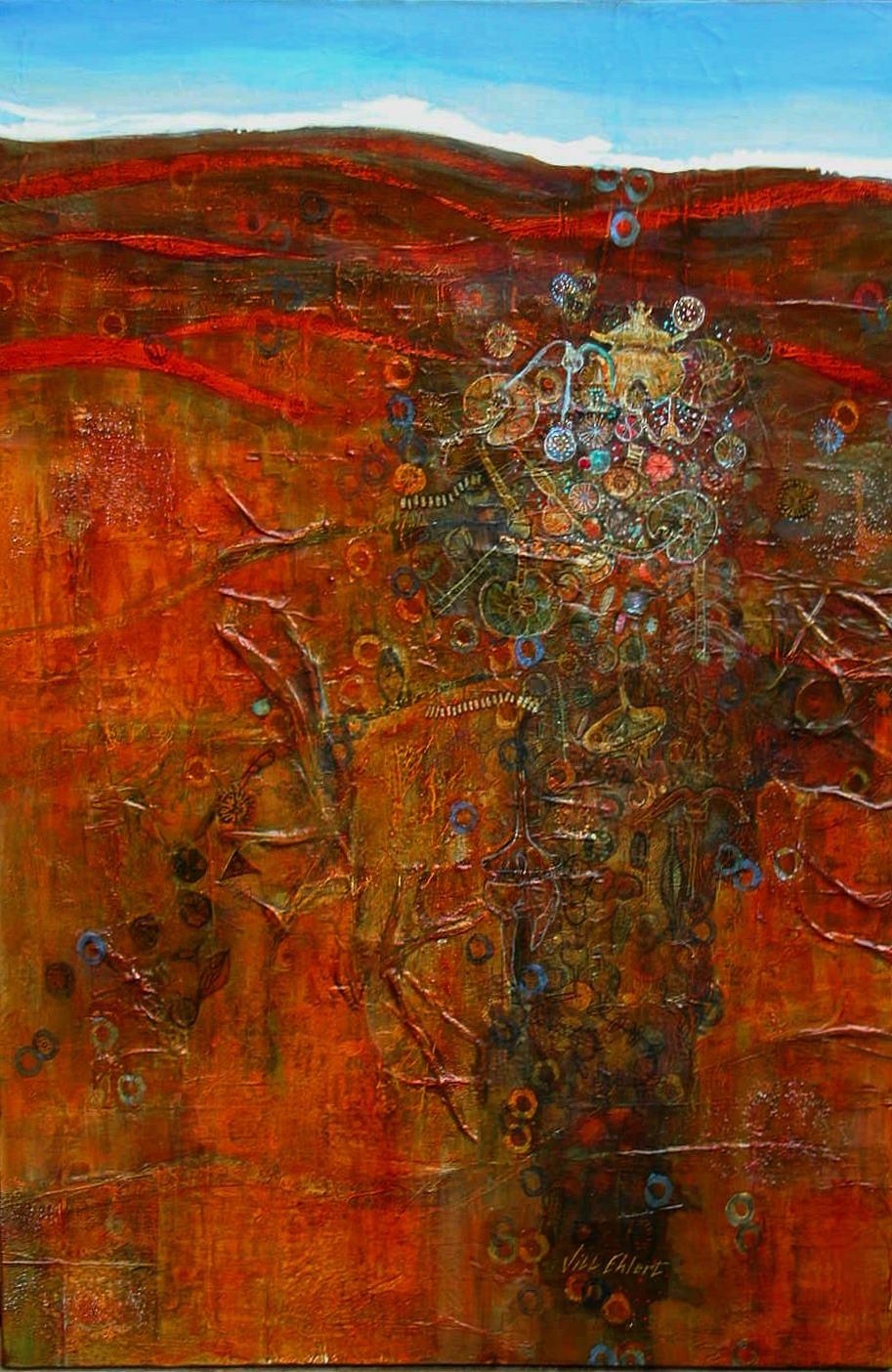 """THE BIG WORLD OF SMALL"" -  Jill Ehlert  © 24"" X 36"" Acrylic, mixed media on canvas"