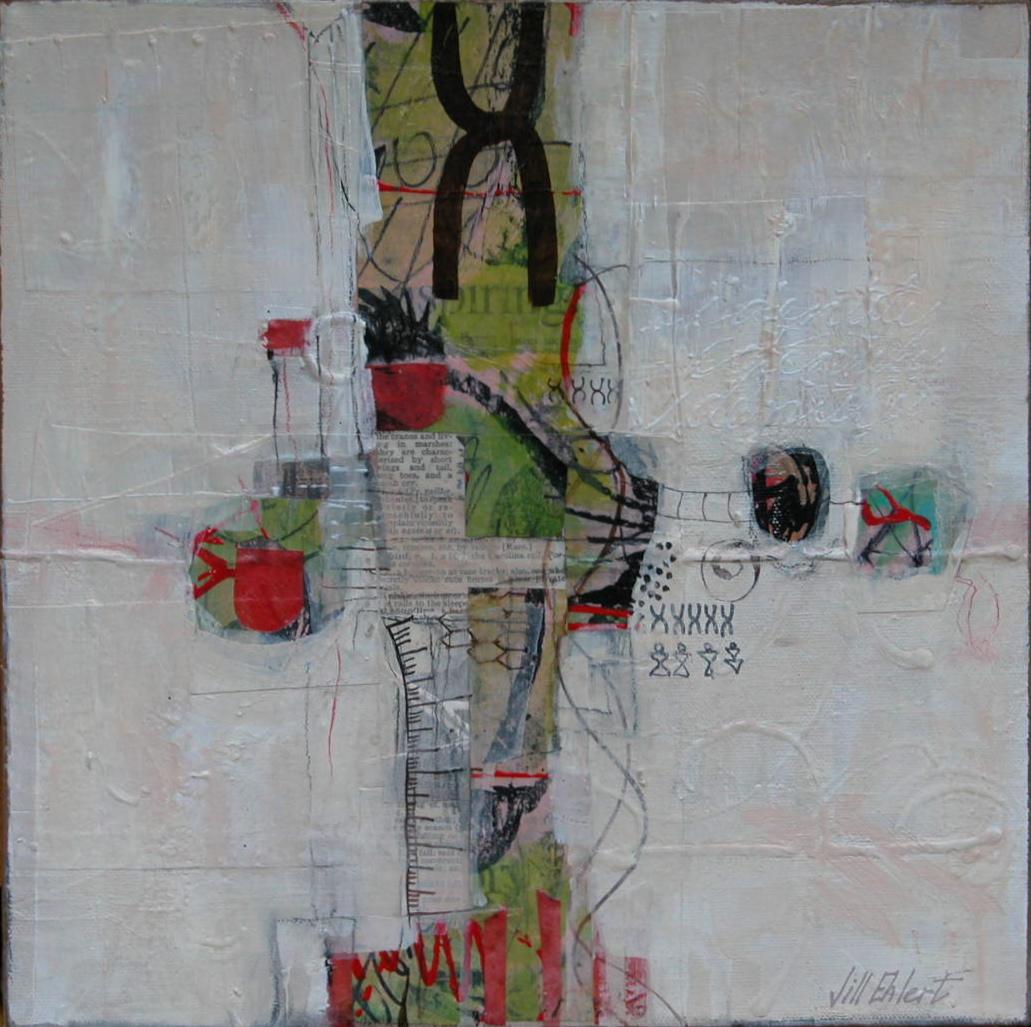 """CONNECTION""  - Jill Ehlert © 12"" X 12"" - Mixed Media on Canvas"