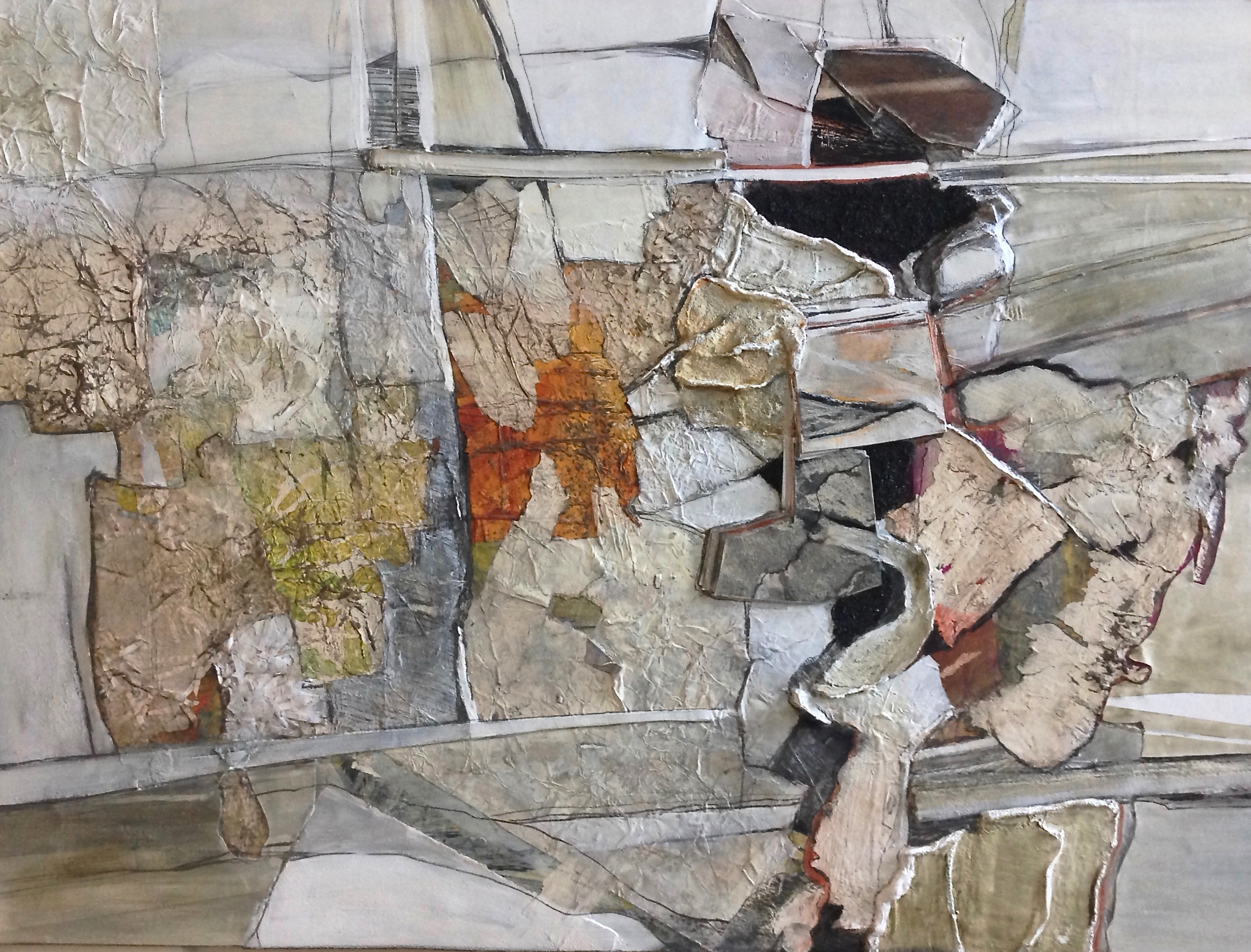 "Rock Face - mixed-media 2014 30"" X 40"""