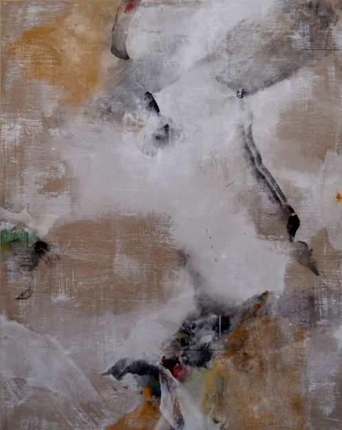"Judidth Kruger: ""Inland-Outland Mapping Mountains 3""  2013, mineral pigments, shell white, silver, scrubbed washi on linen  63"" x 50"""