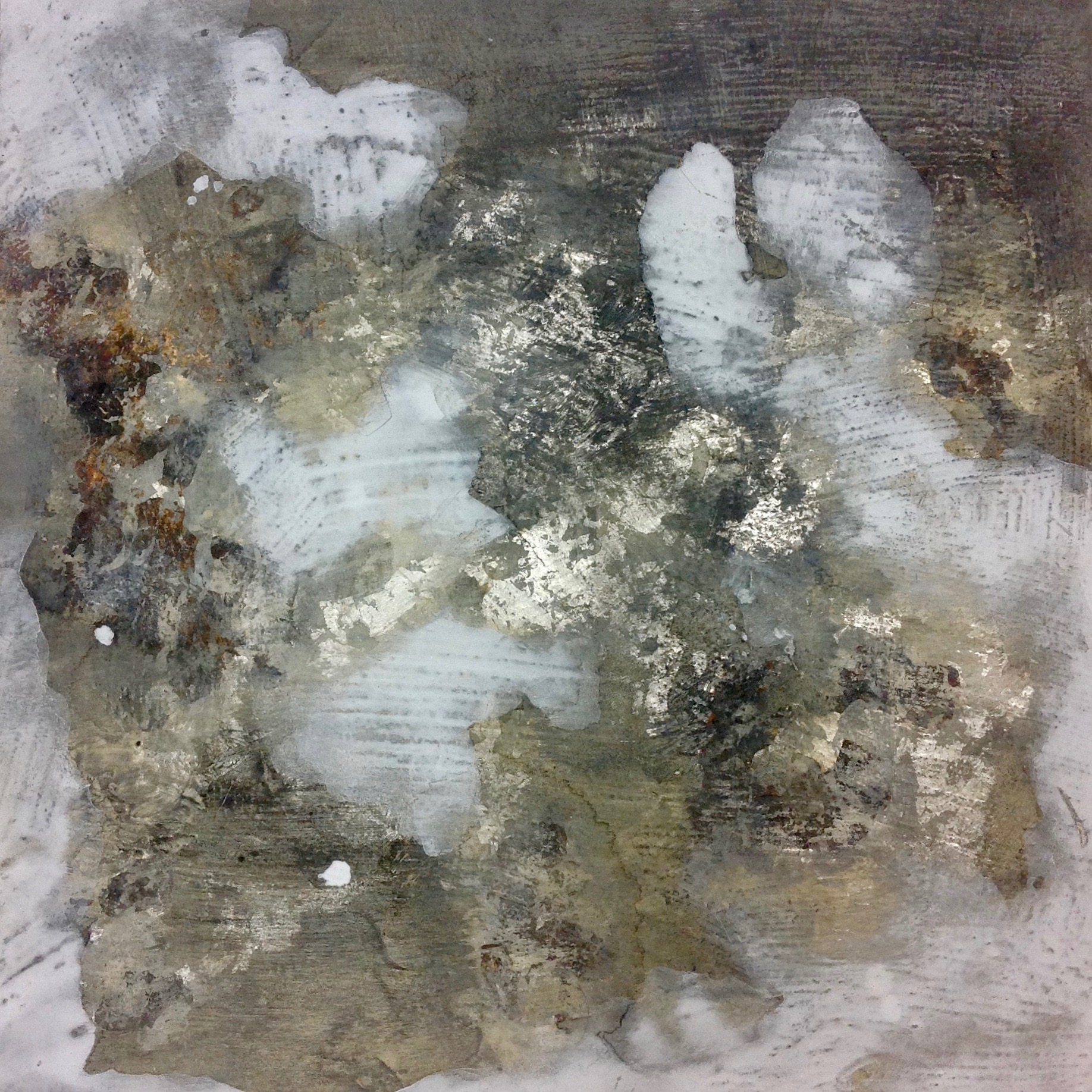"JILL EHLERT - 12"" X 12"" - Mineral pigments, oyster shell white, oxidized Japanese silver leaf , pumice ground on cradle board."