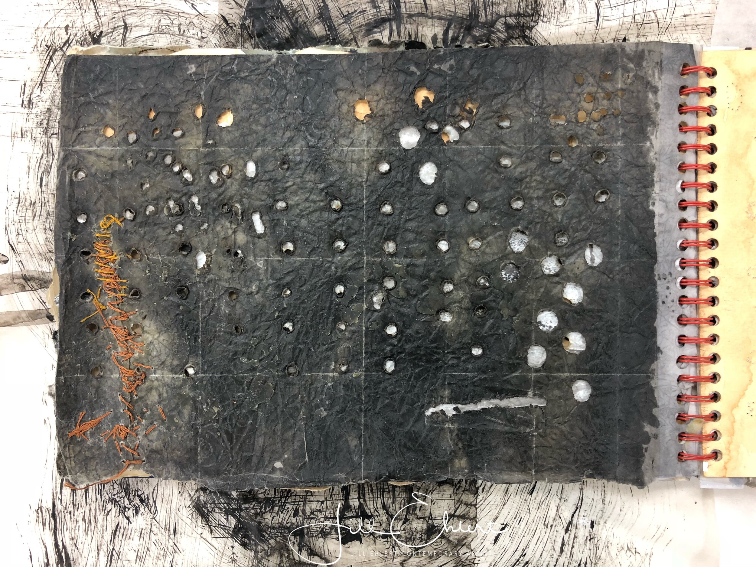 Beeswax over graphite. Punched holes. Sewing with thread.