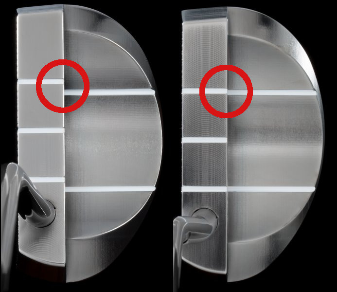 Sightlines misaligned (left) and sightlines aligned (right)