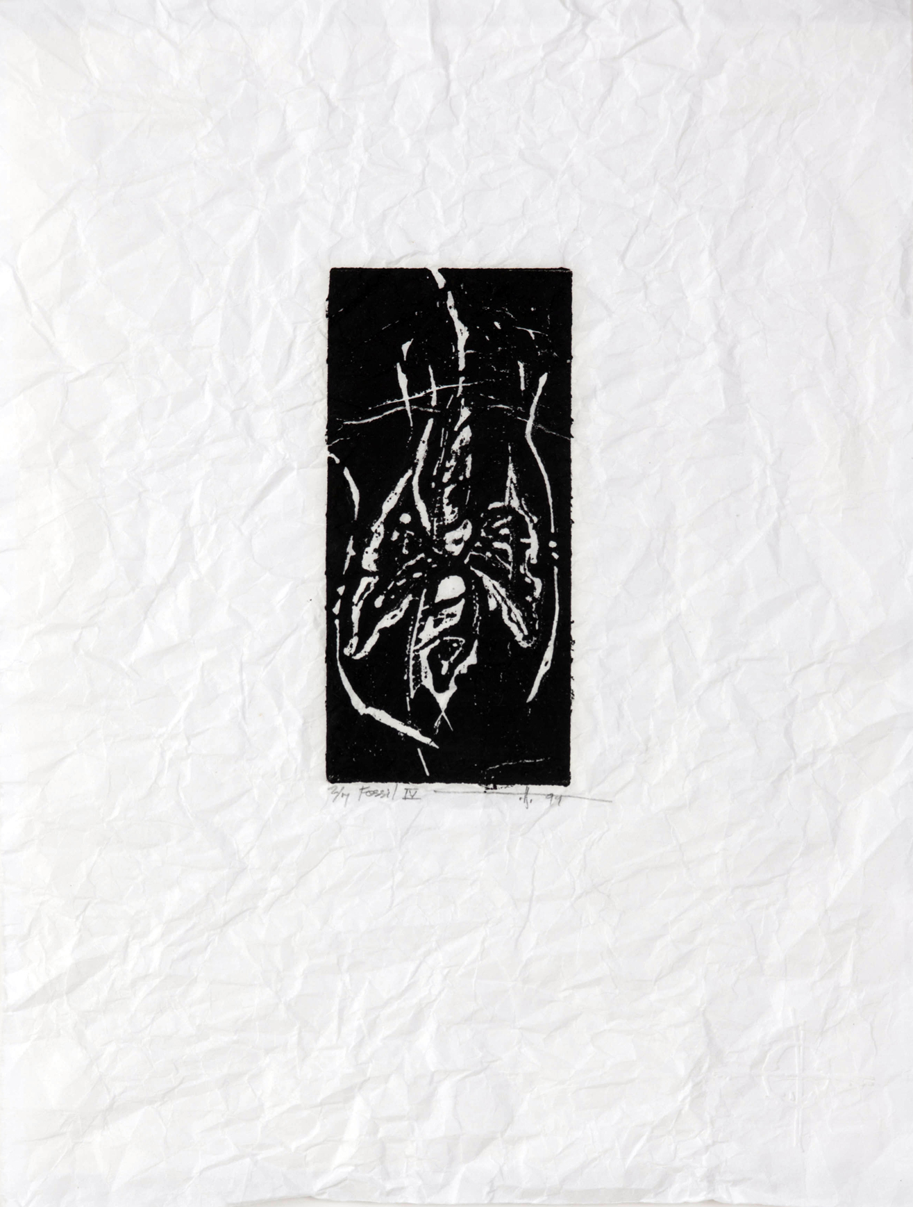 """Fossil 4, BC  Linocut on Distressed Rice Paper 10"""" x 9"""" 2000 / Silence Exhibition 1/7, sold out"""