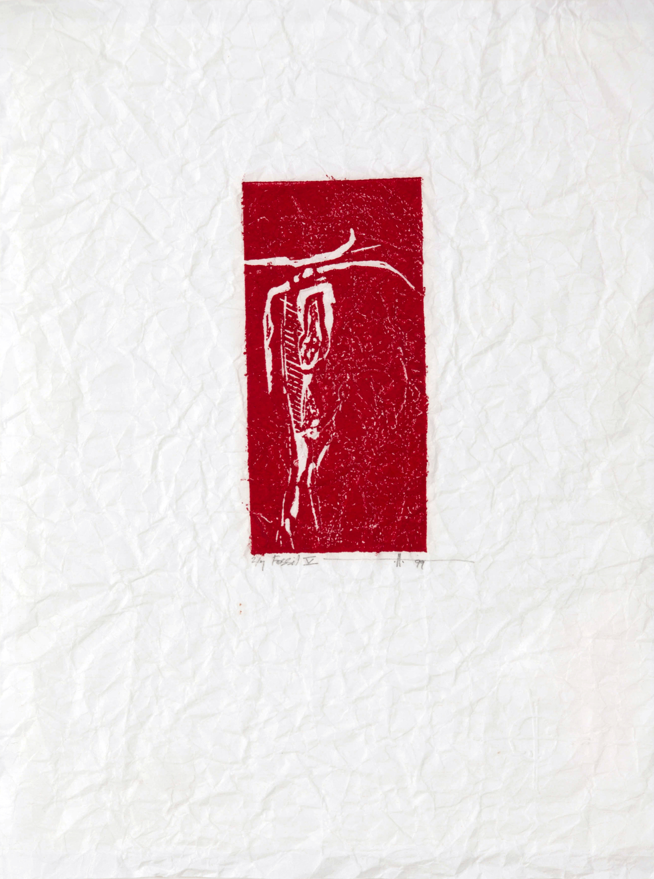"Fossil 5,  BC  Linocut on Distressed Rice Paper 9"" x10""  2000 / Silence Exhibition 1/7, sold out"