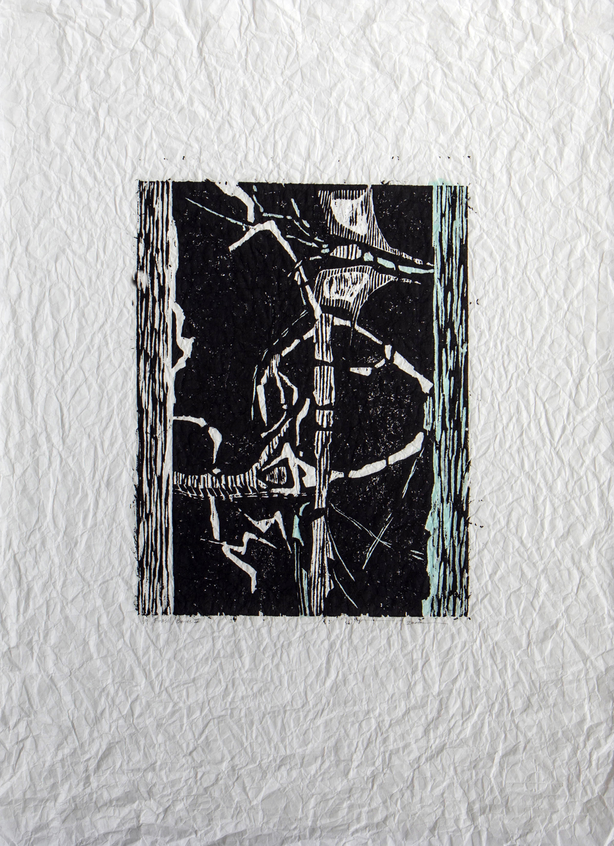 "Fossil / Bones ll , BC  Woodcut on Distressed Rice Paper 14"" x 10.5"" 2000 / Silence Exhibition 1/9 Framed / $450"