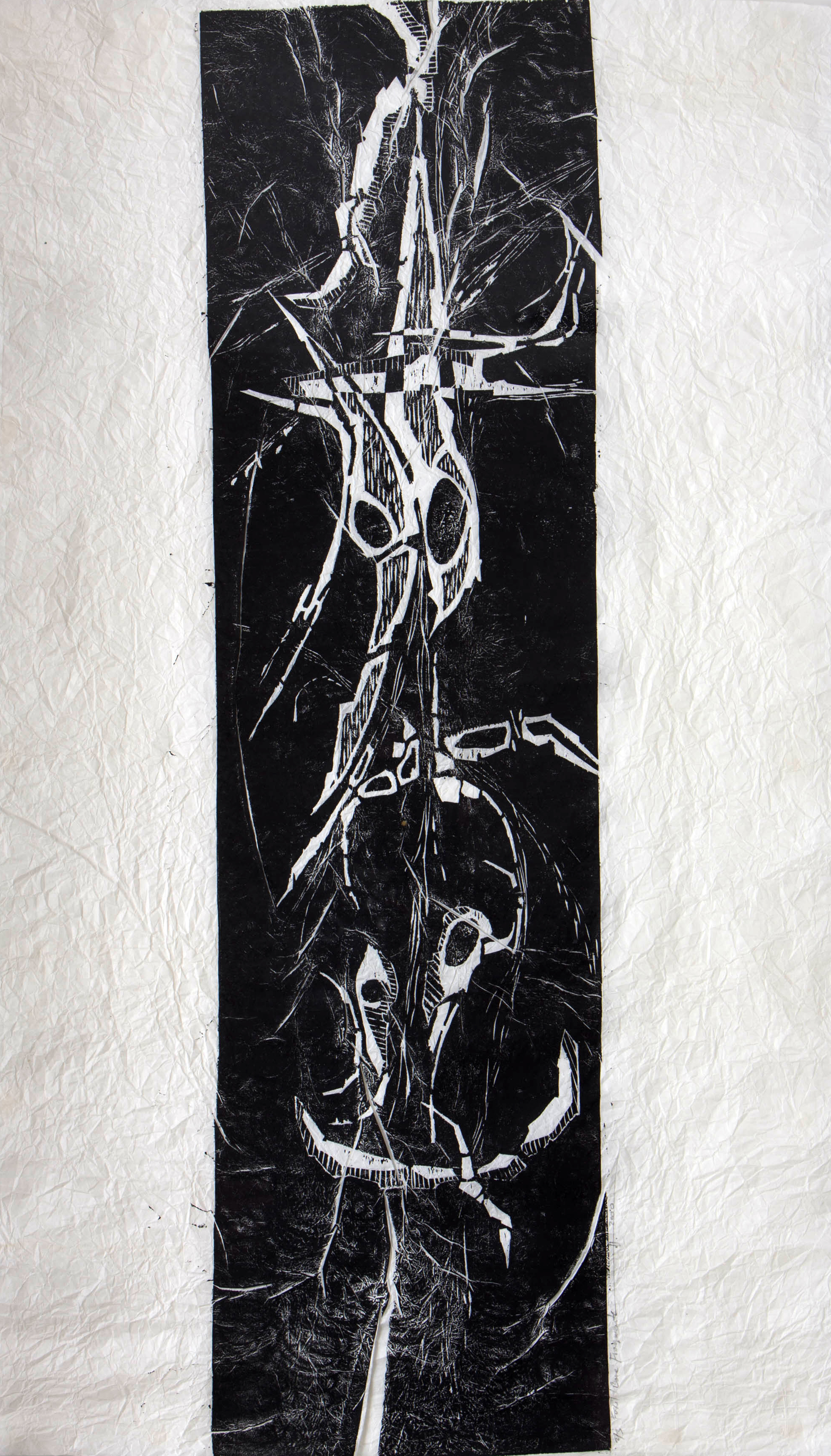 "Fossil / Bone / Fragments , BC  Woodcut on Distressed Rice Paper  30"" x 21.5""  2000 / Silence Exhibition 1/3, Framed / $650"