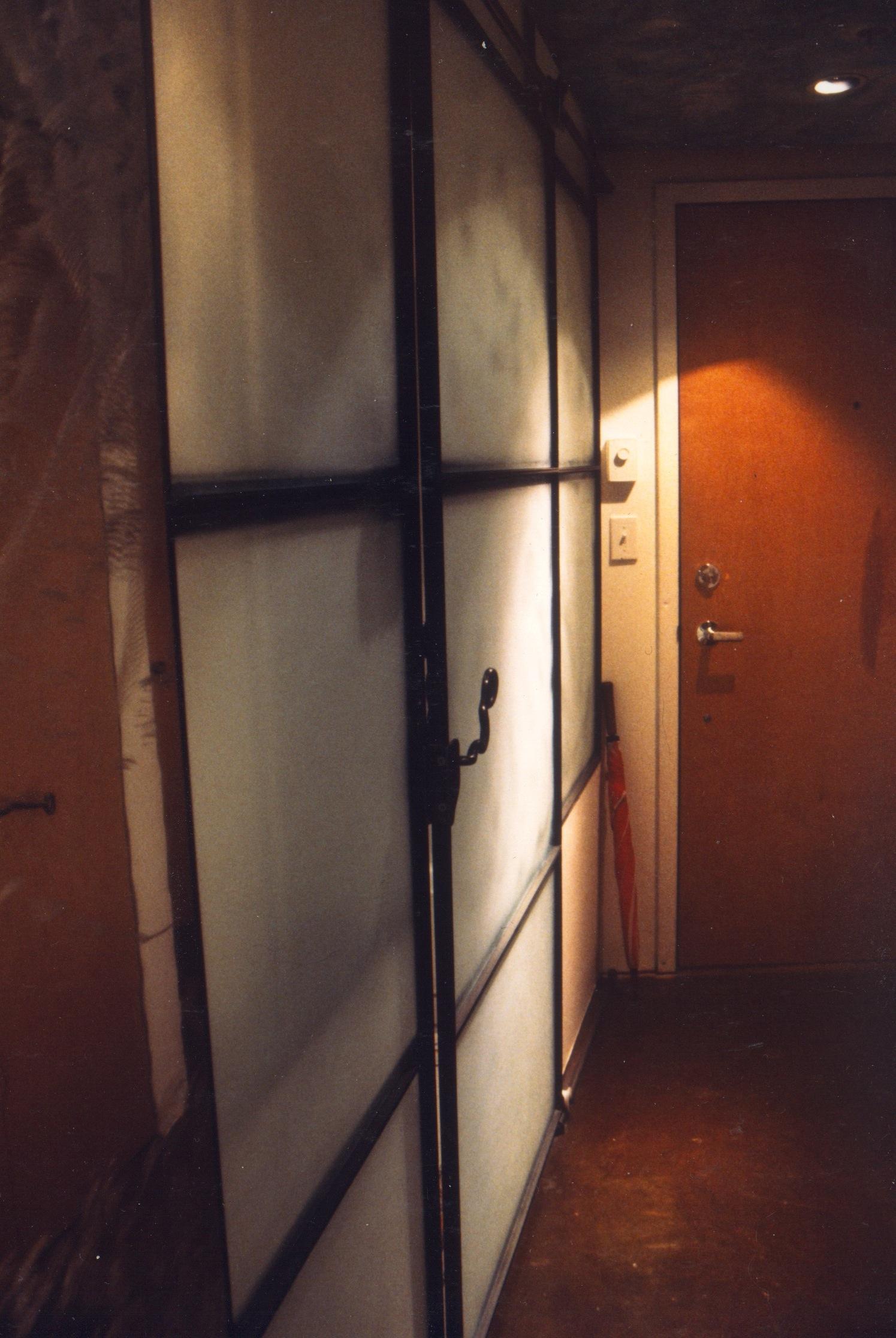 Bathroom Shoji Screen Wall @ Hallway - Sandblasted Glass + Steel Sliding Elements
