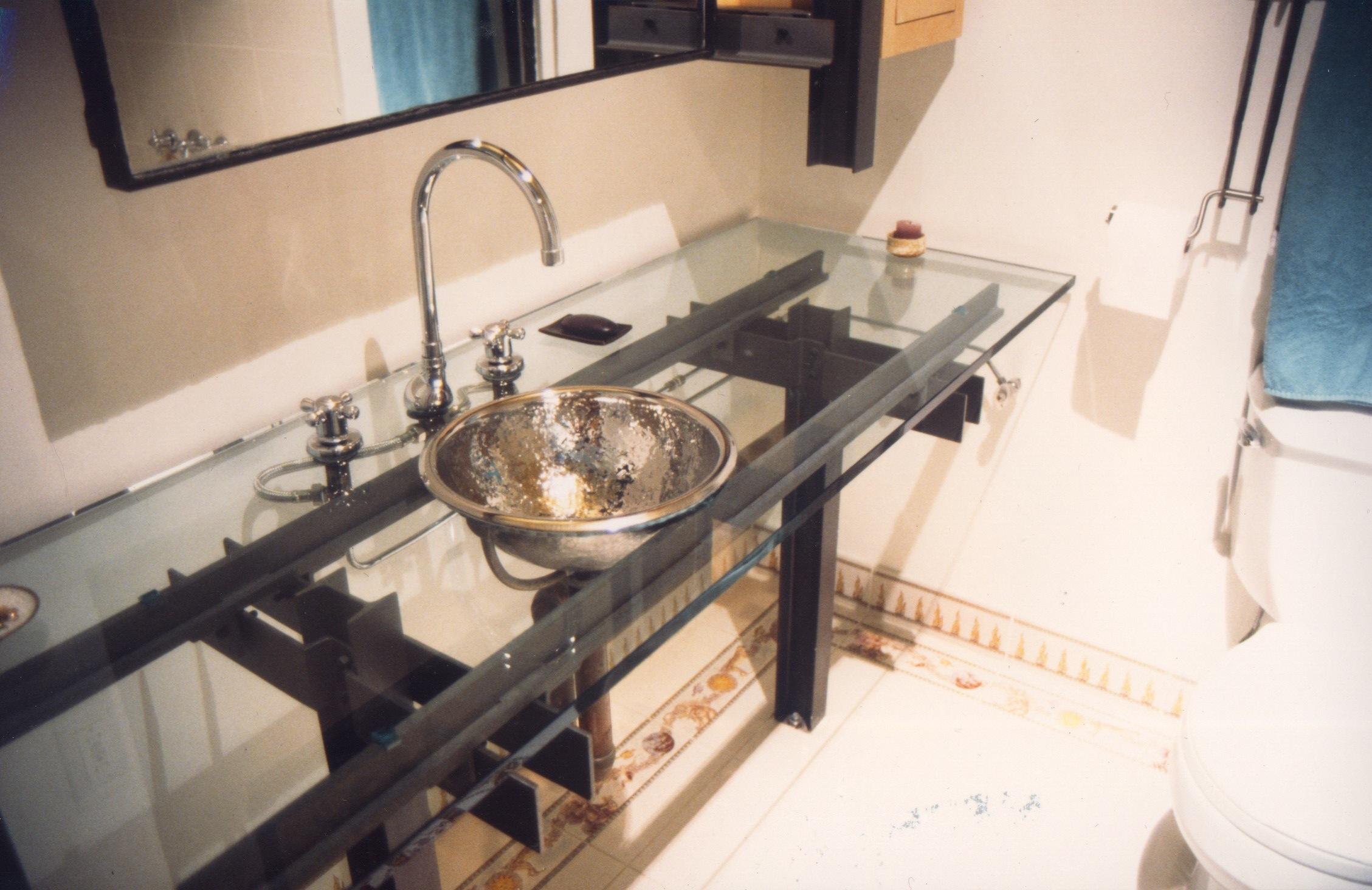 Bathroom Vanity - Sandblasted and Epoxied Steel and Glass Sculpture