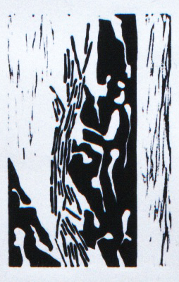 "Log Jam , Vancouver, BC   Hand Rolled Lino Cut on Pressed Paper   51/2"" x 7"" 1998 / 2000"