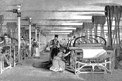 A Roberts loom in a weaving shed in 1835.  Wikepedia