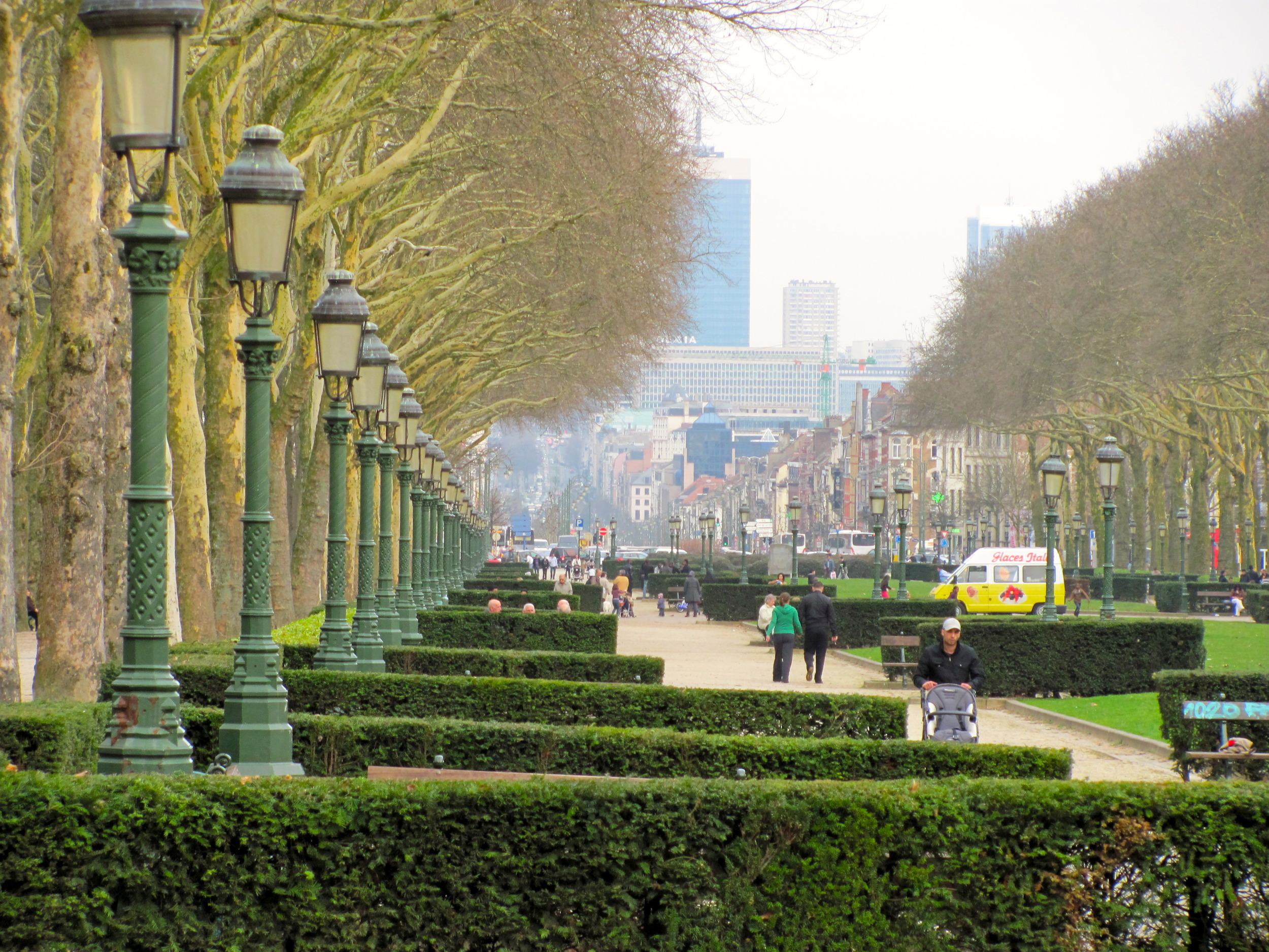 Park above the Tunnel Leopold ll, view looking towards old city Brussels, Belgium, VHS, 2010