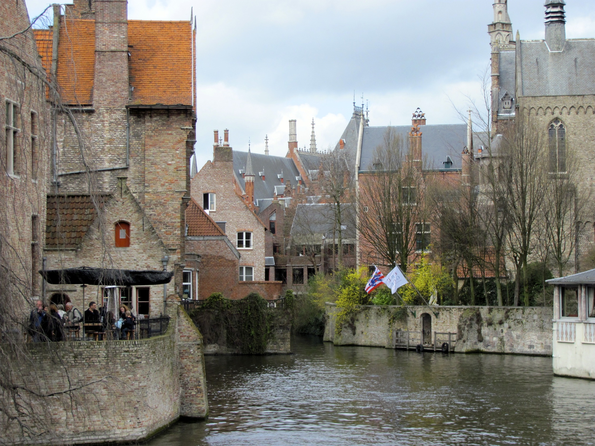 View down the Dijver canal, Bruges, Belgium, VHS 2010