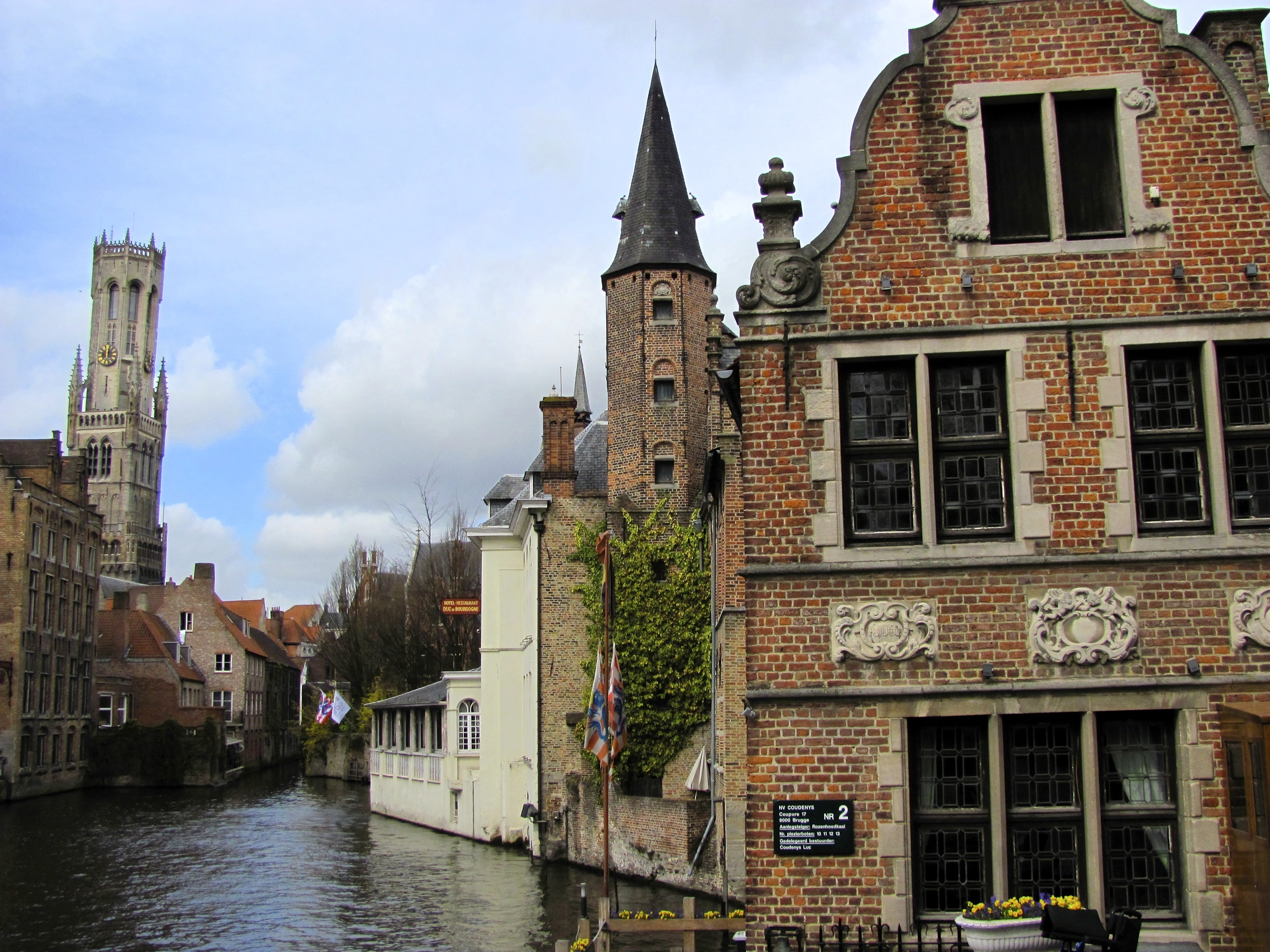 View 2 down the Dijver canal, Bruges, Belgium, VHS 2010