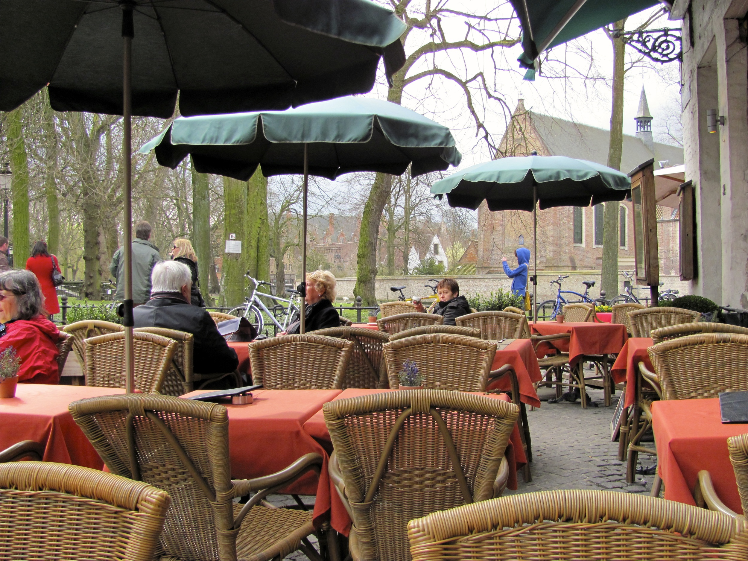 Restaurant and square, Bruges, Belgium, VHS 2010