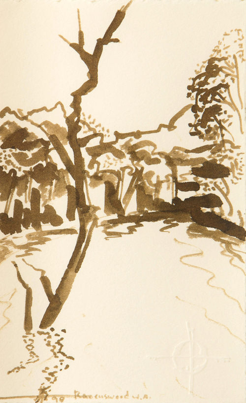"Shag's Place in The River , WA  Japanese Ink Brush on Rag 7"" x 5"" 1998 NFS"