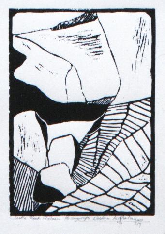 "Castle Rock Plateau ,Porongurups, Western Australia  Hand Rolled Lino Cut on Pressed Paper 51/2"" x 7"" 1998 / 2000"