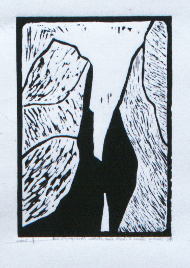 """Touching Stones 1, Castle Rock Plateau,Porongurups, Western Australia  Hand Rolled Lino Cut on Pressed Paper 51/2"""" x 7"""" 1998 / 2000"""