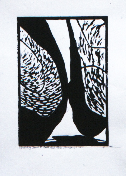 """Touching Stones 2 ,Castle Rock Plateau,Porongurups, Western Australia  Hand Rolled Lino Cut on Pressed Paper 51/2"""" x 7"""" 1998 / 2000"""