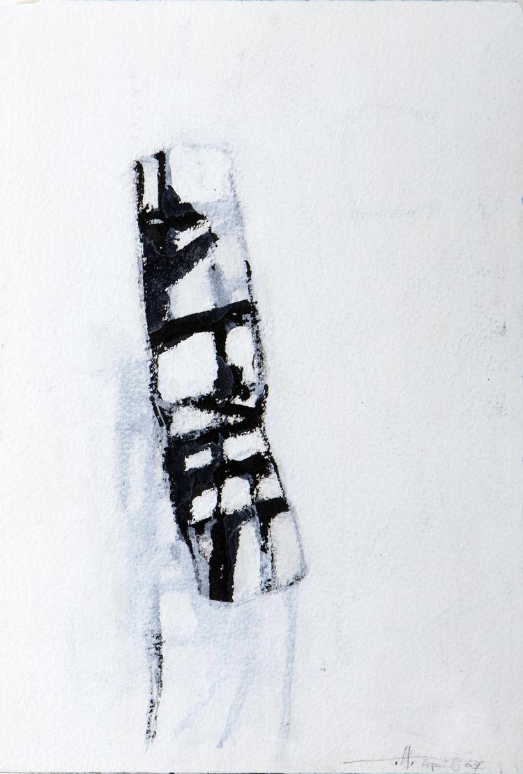 "Broken Man , BC  Japanese brush, Acrylic on Paper 4"" x 6"" 2007, $225 /Framed"