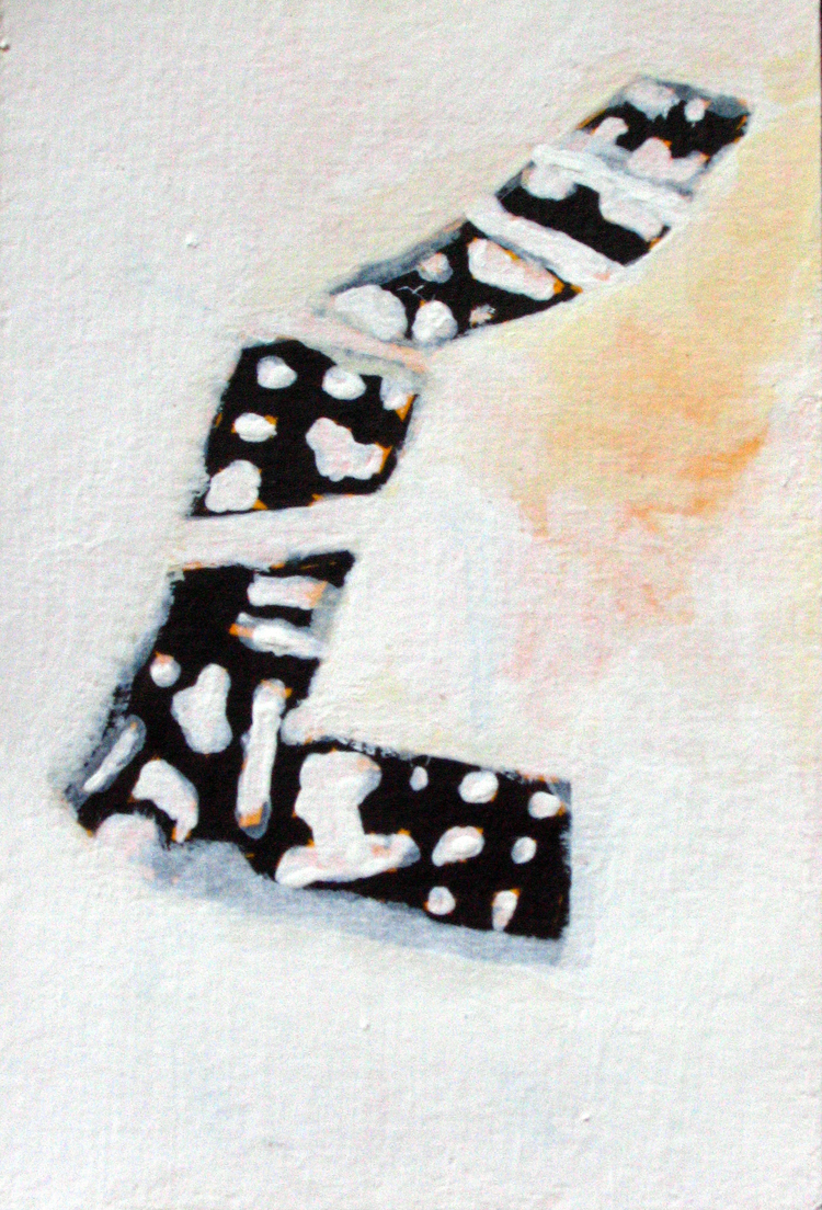 "Going Away , BC  Japanese brush, Watercolor, Acrylic on Paper 4"" x 6"" 2007 In the Collection of H.S. Rad"