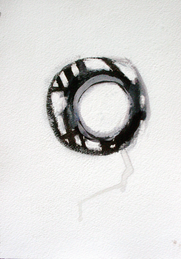 "Oracle , BC  Japanese brush, Acrylic on Paper 7"" x 10.25"" 2007 $225 /Framed"