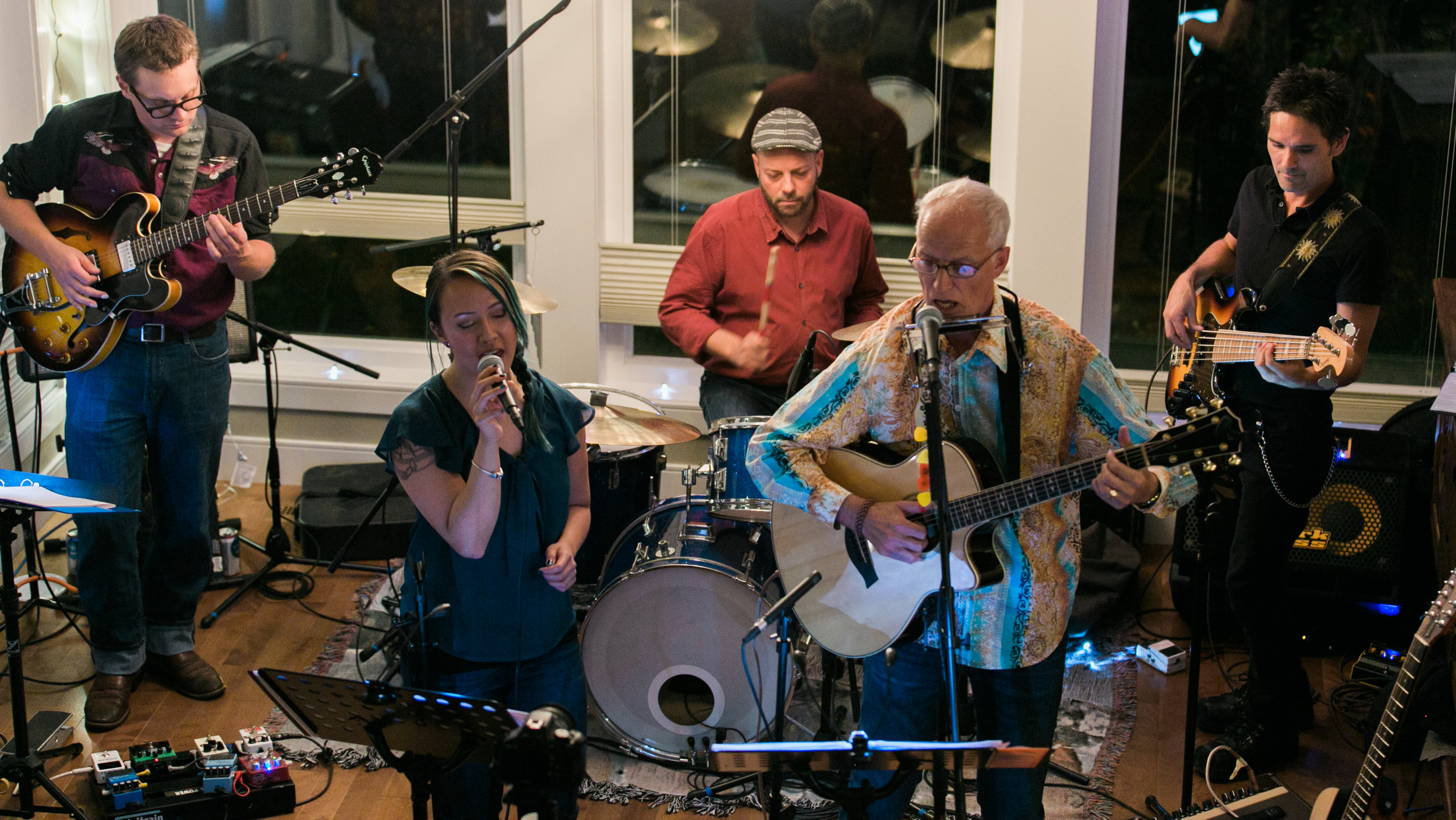 The Band: doin' a burning set: Lara Tang, Chris Tabbert; Stew Kirkwood; Dustin Roy; Vaughan Hoy: photo courtesy Pablo Herrara; Northern Sessions
