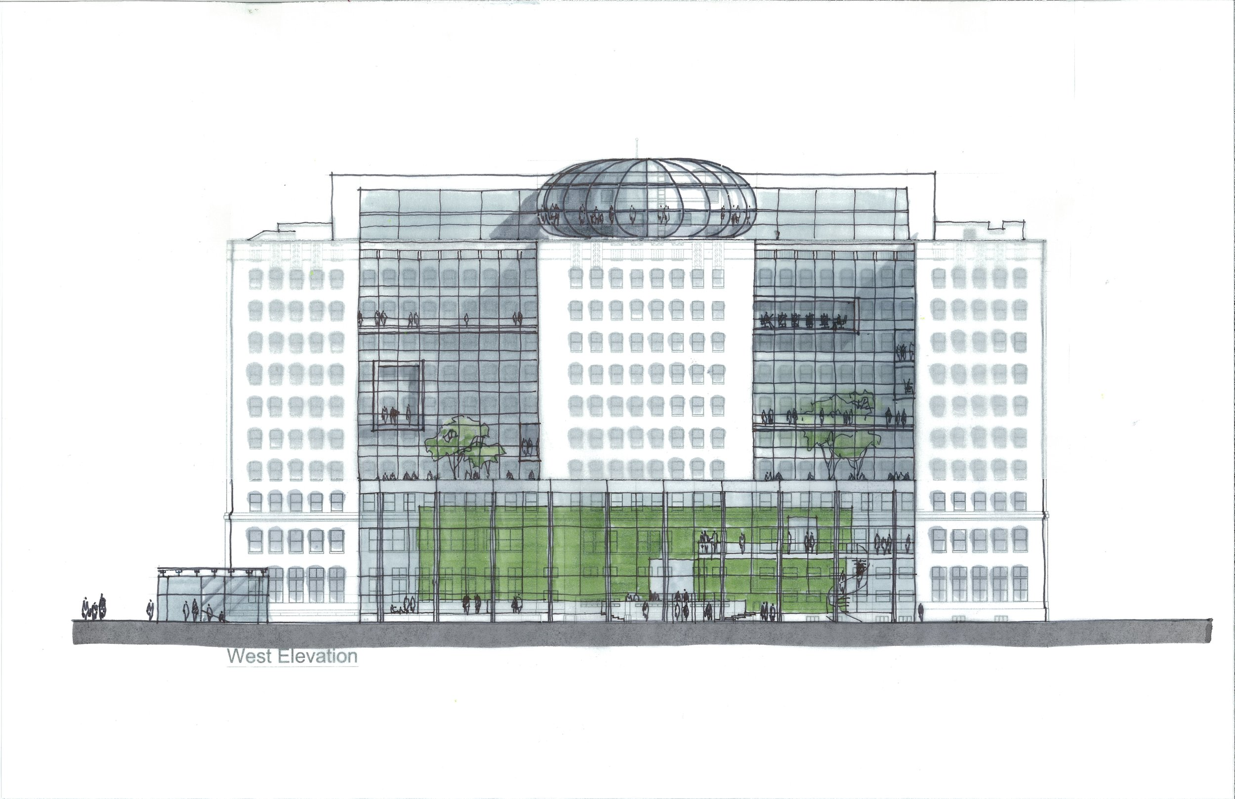 Federal Building West Entrance Pavilion and Atria Study-sketch by Dong An