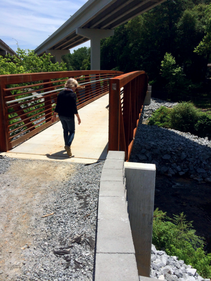 A Cheshire Farm Trail bridge crosses the North Fork under the GA-400 flyover ramp.